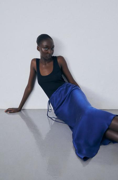 Silk Laundry Asymmetric Skirt - Deep Blue