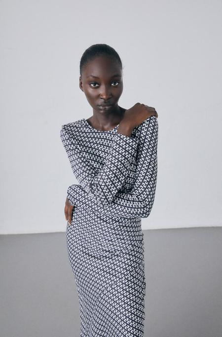 Silk Laundry FULL SLEEVE BIAS CUT DRESS - CRANES