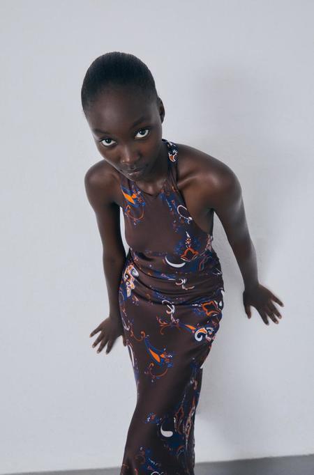 Silk Laundry Halter Dress - Brown Paisley