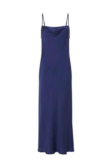 LONG STRAIGHT NECK DRESS DEEP BLUE