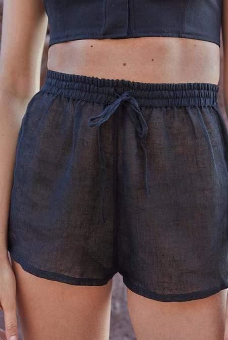 Le Kasha Taba Linen Short - Black