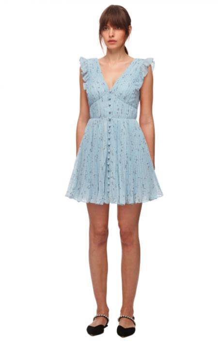 Self-Portrait Metallic Floral Mini Dress - Blue/Multi