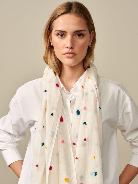 Bellerose Vuria Cotton Polka Dot Embroidered Scarf - multicolor