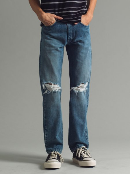 SECOND/LAYER Destroyed Stone Wash Type I Classic Denim - blue