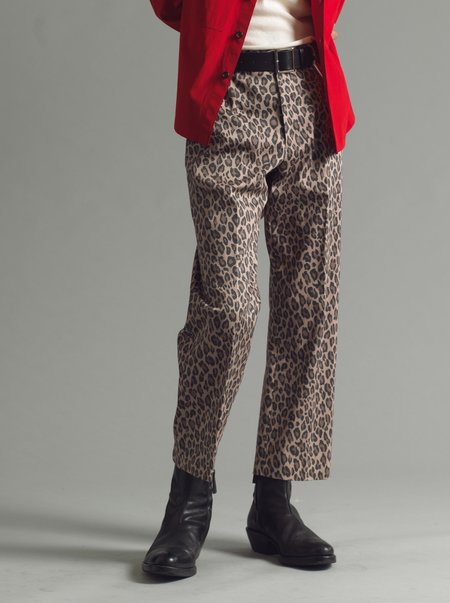 SECOND/LAYER Ceretto Flat Front Trouser - Leopard
