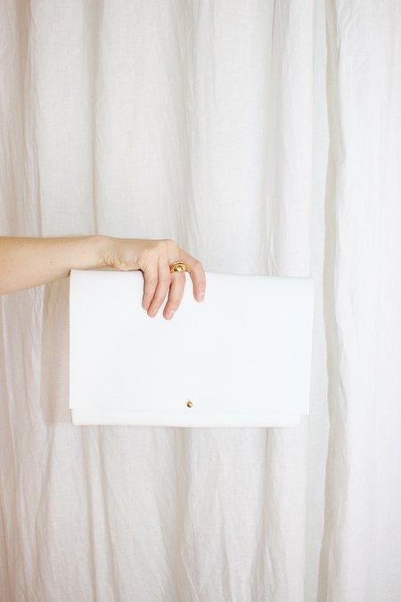 ARA Handbags Fold Over Clutch - Smooth White
