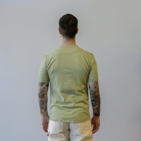 Homespun Knitwear Coalminer Short Sleeve Recycled Cotton Jersey Henley - Safari
