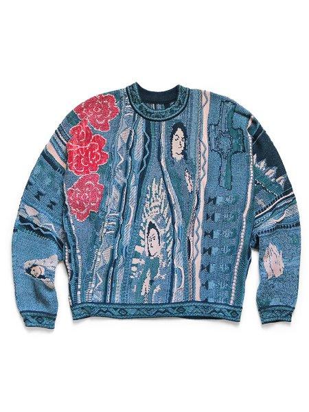 Kapitalkapital 7g Knit Virgin Mary Gaudy Crew Sweater - Blue