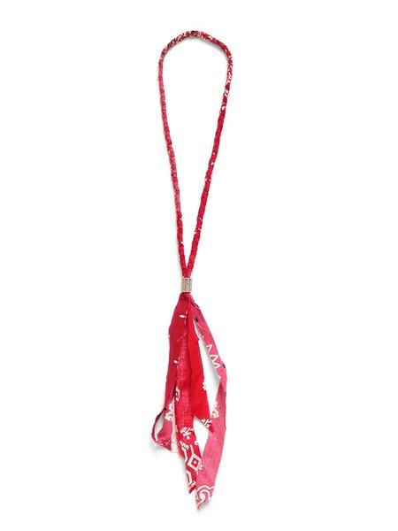 Kapital Gauze Bandana Fringed Necklace - Red