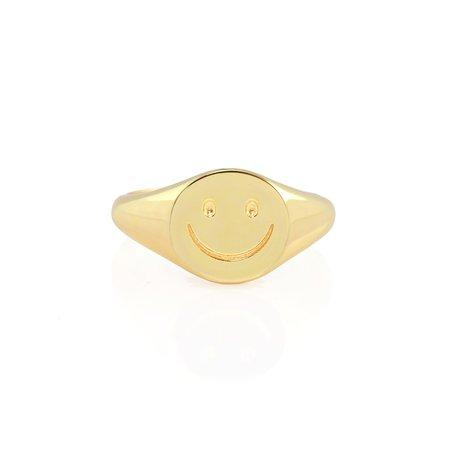 Kris Nations Happy Signet Ring - 18K Gold Vermeil