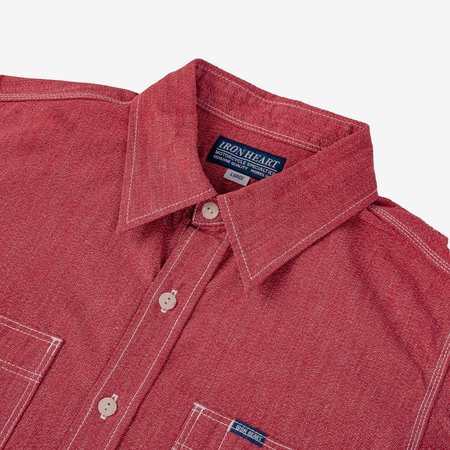 Iron Heart IHSH-290 Mock Twist Selvedge Chambray Work Shirt - Red