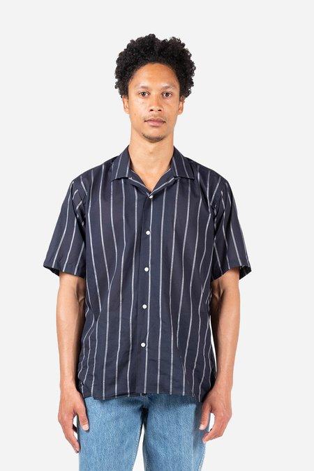 Gitman Bros. Metallic Stripe Voile Camp shirt - Navy