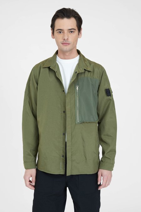 Stone Island Hollow Core Poly Light Vented Over Shirt - Olive