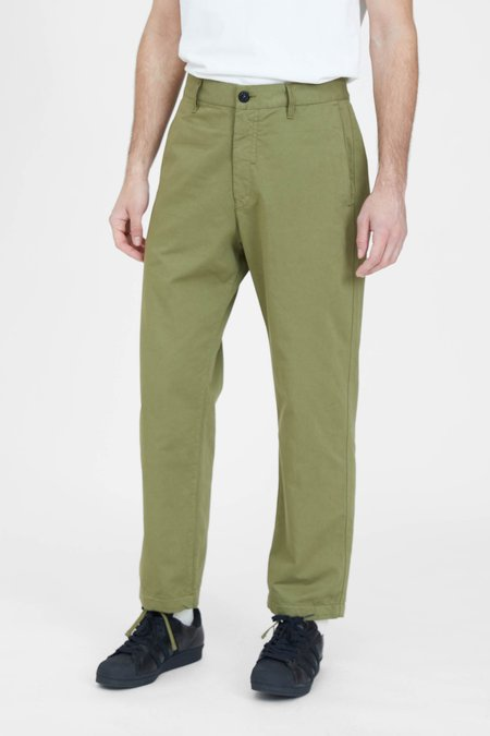 Stone Island Raso Cotone Trama Nera Straight Pants - Olive