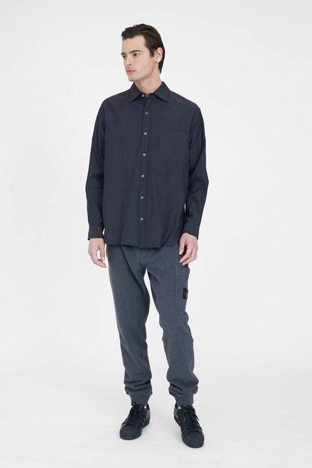 TS(S) Pinstripe Cotton Silk Micro Faille Cloth Baggy Fit Shirt - Charcoal
