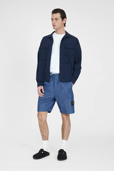 Engineered Garments Solid Cotton Lawn Bowling Shirt - Navy