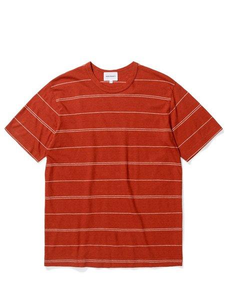 Norse Projects Joakim Stripe T-Shirt - Burnt Havthorn