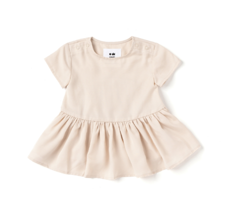 kids Omamimini Baby Hi Low Drop Waist Dress - Cream