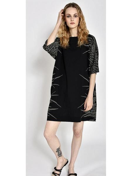 Uzi NYC Now Dress - Black Feather