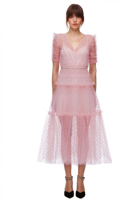 Self-Portrait Dot Mesh Dress - Pink