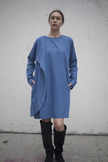 69 Denim Wrap Around Dress in Medium Wash