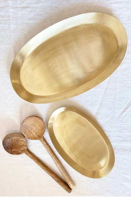 139 project Brass oval tray and Mango large wood round spoon Gift set box