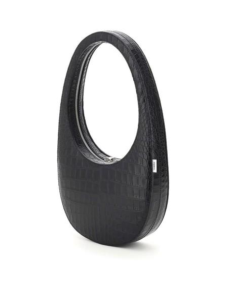 Coperni Swipe Croc Print Leather Bag - black