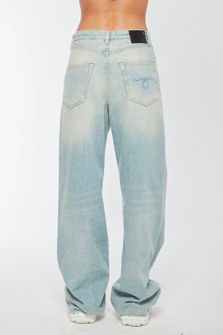 R13 Damon Pleated Wide Leg Jeans - LENNON BLUE