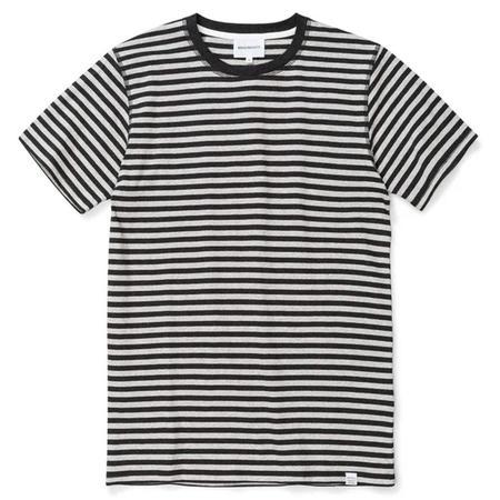 Dark Navy Niels Classic Stripe S/S top - Light Grey Melange/Charcoal