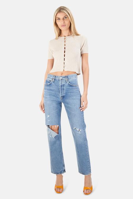 NAADAM Ribbed Short Sleeve Cardigan Sweater - Linen