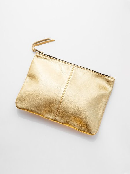 Erica Tanov Metallic Leather Clutch - Gold