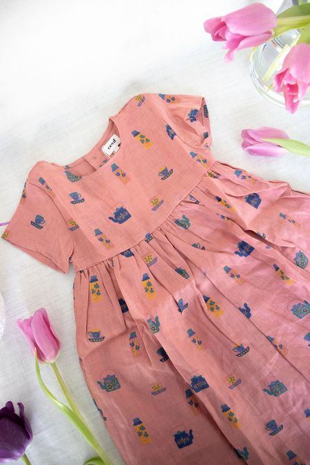 Kids Oeuf Short Sleeve Dress - Punch Pink