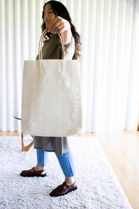 Amiacalva Mesh Leather Large Paperbag Tote - Beige