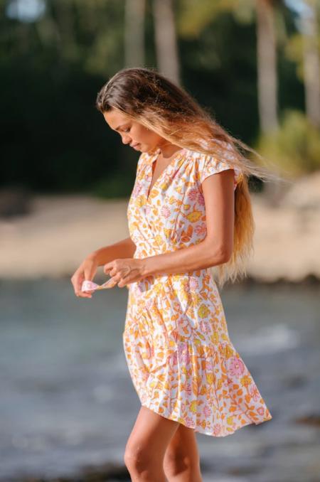 XIX Palms Mojave Wrap Dress - Orange/White