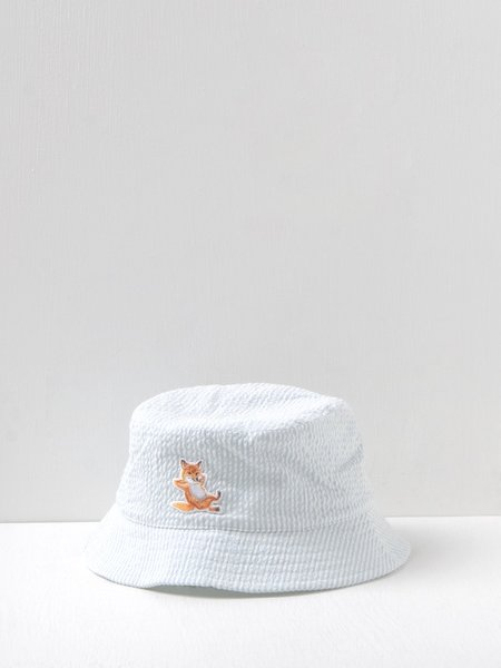 Maison Kitsuné Chillax Fox Bucket Hat - Blue Stripe