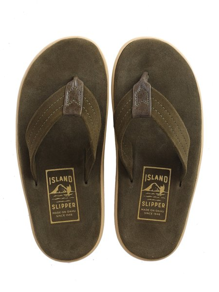 Island Slipper Suede with Leather Thong Sandal - ARMY GREEN/OLIVE