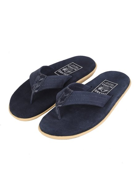 Island Slipper Suede with Leather Thong Sandal - NAVY