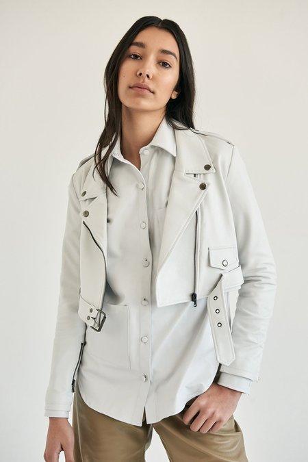 alyson eastman Crop Moto Jacket - White