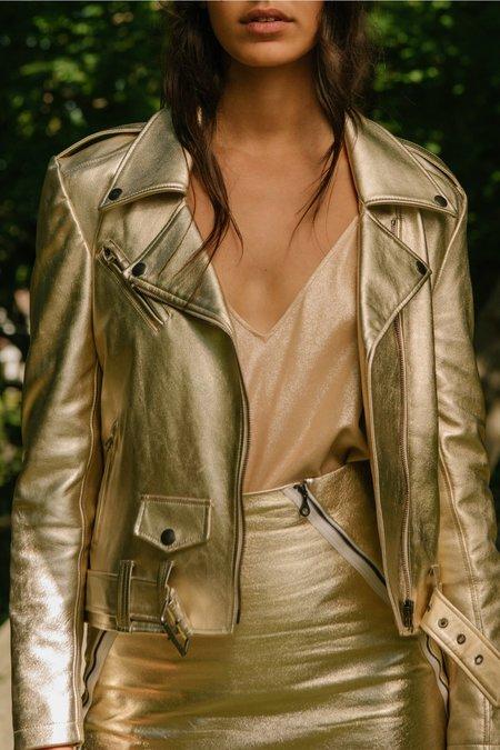 alyson eastman Metallic Moto Jacket - Gold