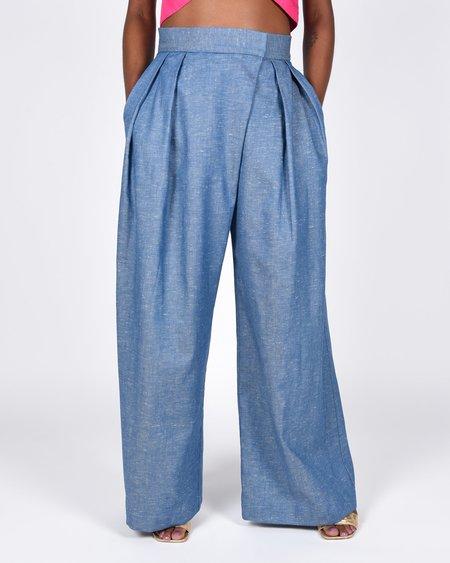 Atelier Delphine Parisa cotton linen pant - blue