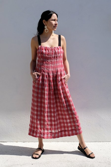 Caron Callahan Virginia Dress - Red Gauze Plaid