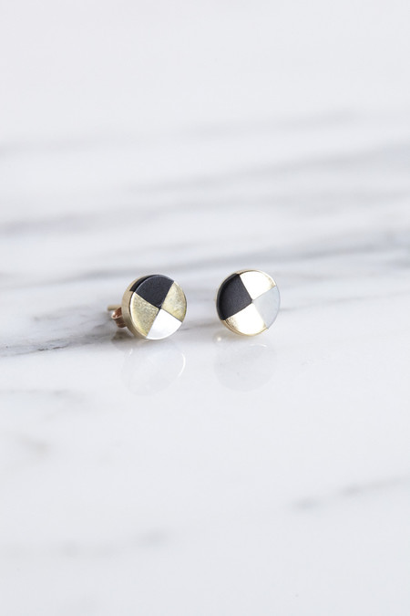 Ursa Major Ray Studs in Gold with Jet & Mother of Pearl