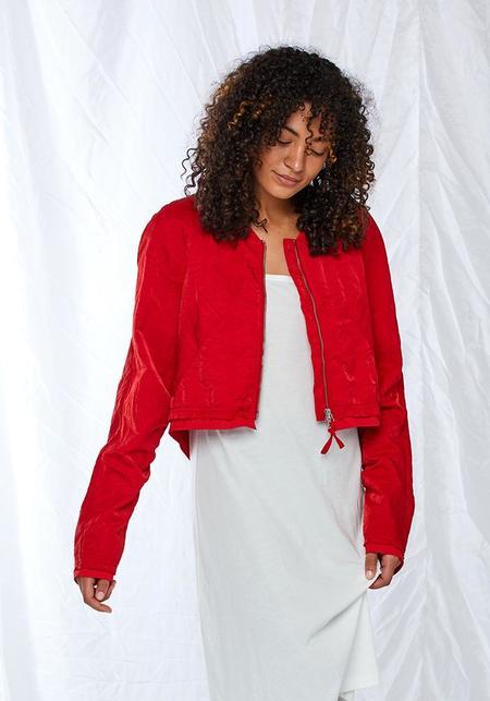 Rundholz Open Back Cropped Jacket - red