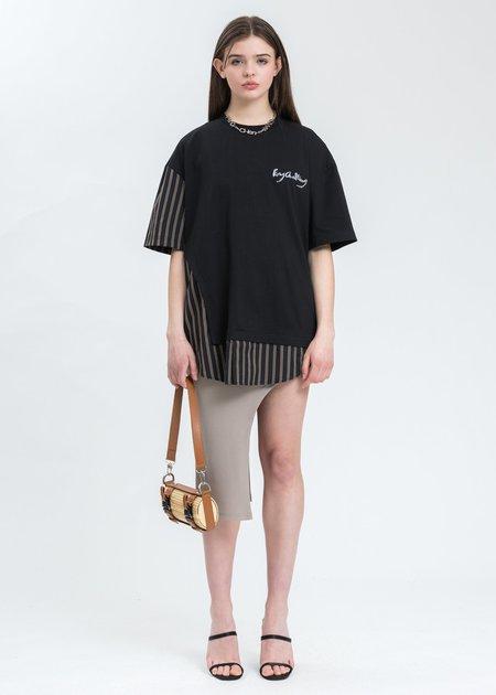 Feng Chen Wang Paneled T-Shirt - Black/Stripe