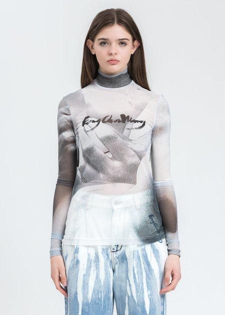 Feng Chen Wang Mesh Printed Long Sleeve - Grey