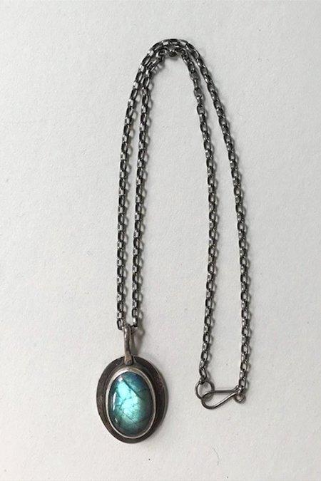 Vintage Deborah Forman Artisanal Labradorite Pendant - sterling silver