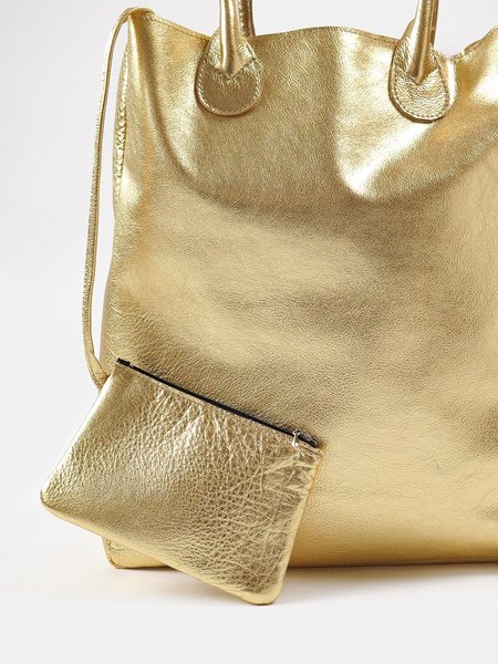 Erica Tanov Metallic Leather Tote - Gold