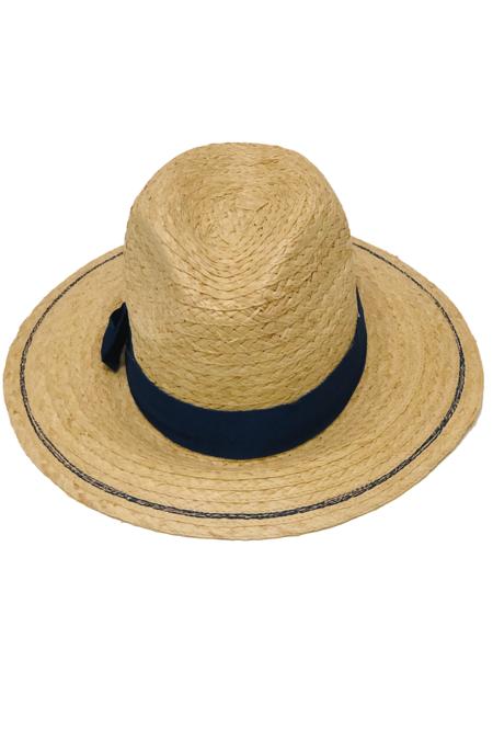 Lola Ehrlich Chips Raffia Straw Hat - Cadet