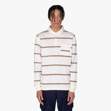 Wood Wood Beck Polo Long Sleeve T-shirt - Off-White Stripes