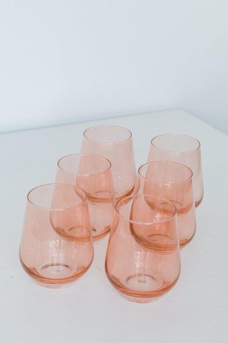 Estelle Colored Glass Stemless Wine Glasses - Blush Pink